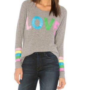 🆕Anthro Chaser Rainbow Stripe Love Knit Pullover